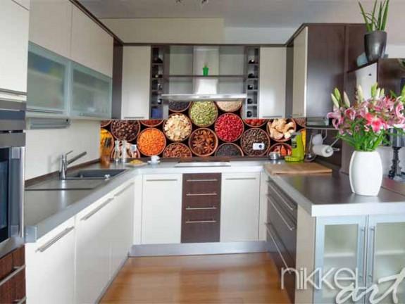 k chenr ckwand aus glas mit foto. Black Bedroom Furniture Sets. Home Design Ideas
